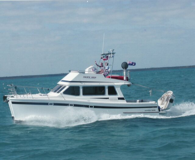 Used scimitar 365 power catamaran for sale pacific high pictures to